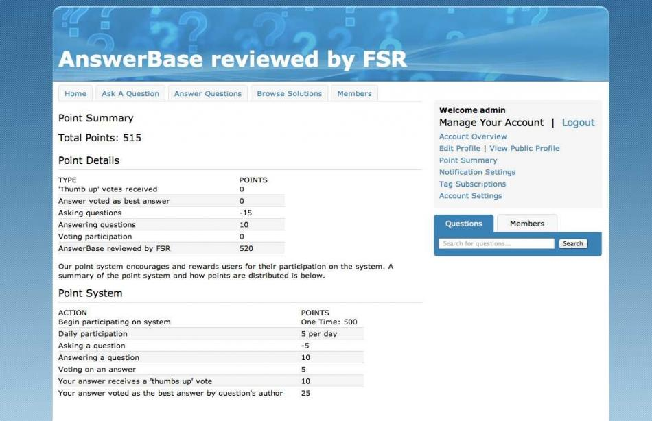 Answerbase - Member Point Summary