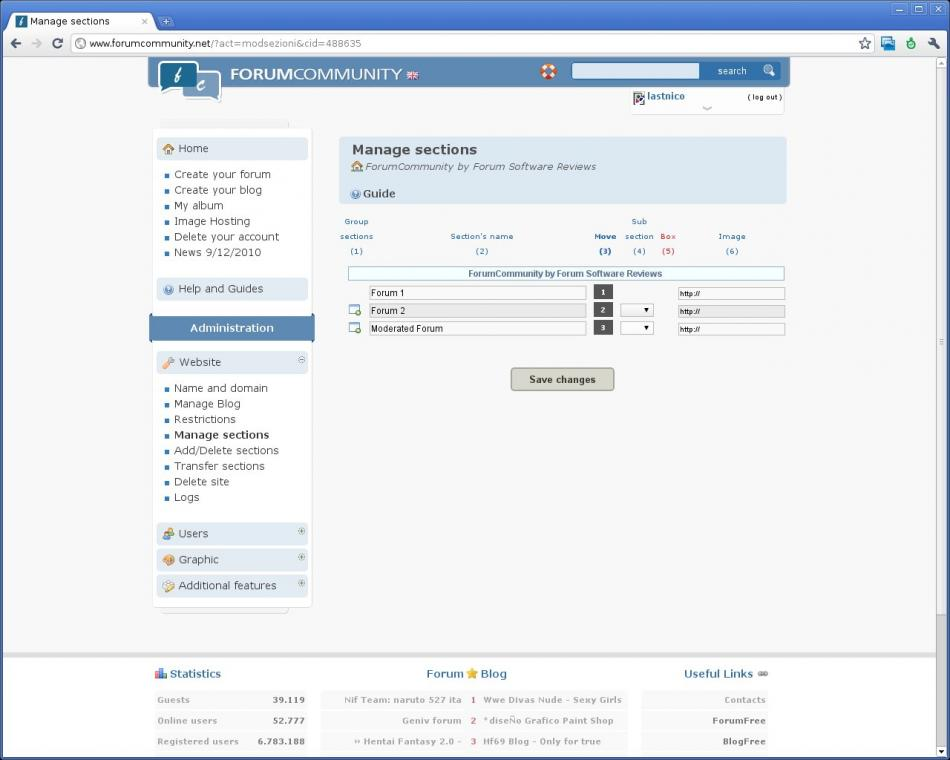 ForumCommunity Website Administration - Manage Sections