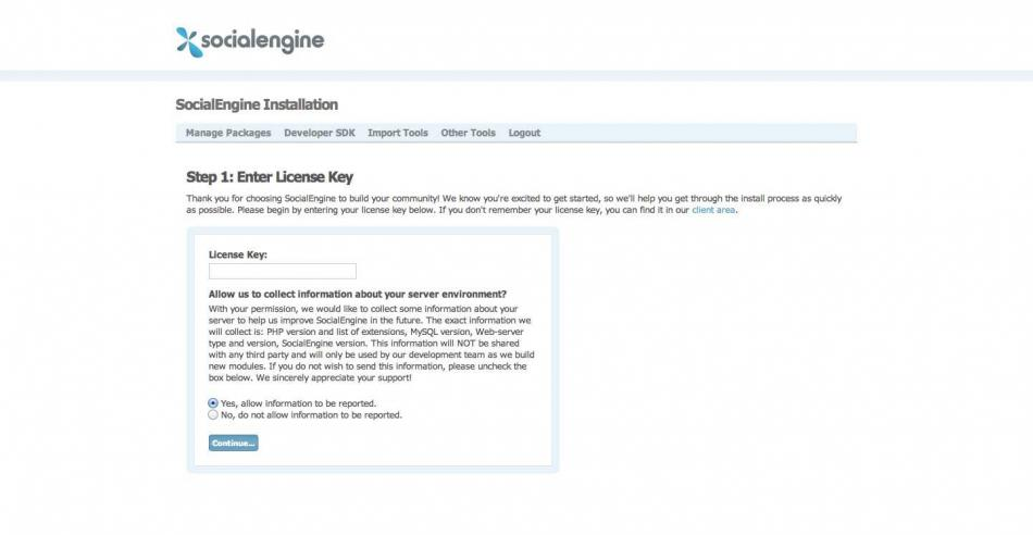 Install SocialEngine - Step 1 - License