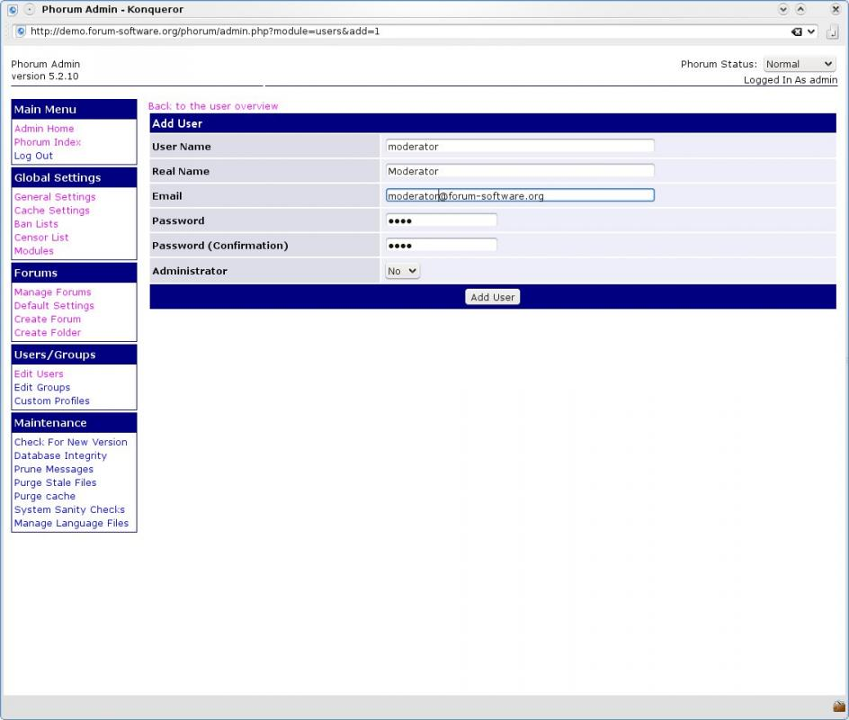 Phorum Administration New User