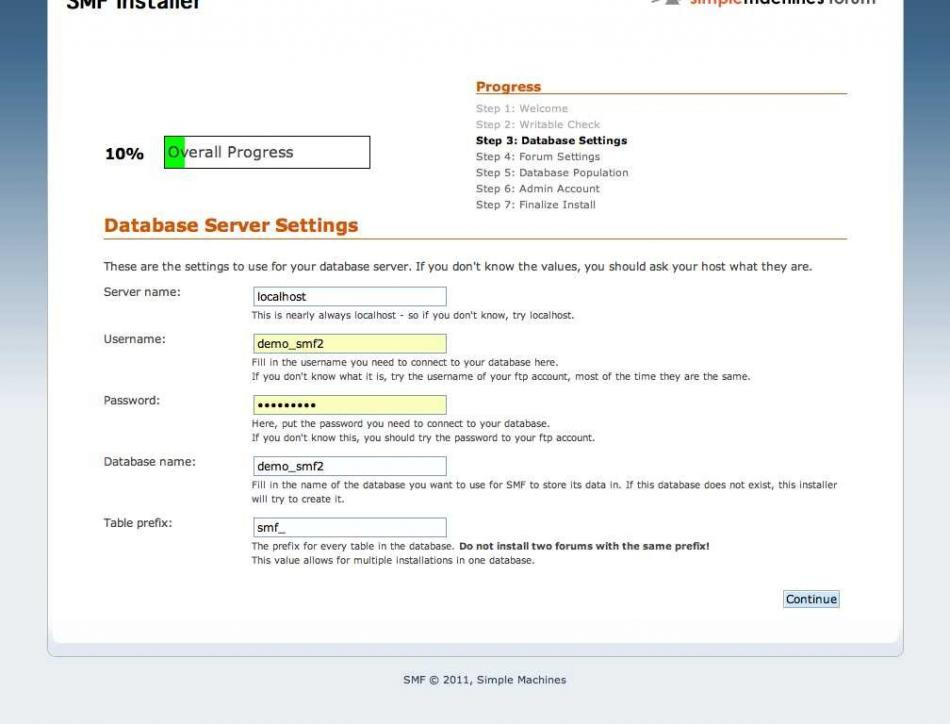 SMF Installer - Step 3 Database Settings